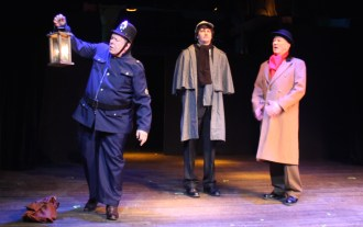 Peterson on the look out - Peterson (David Jones, Sherlock Holmes (Matt Sims), and Dr. Watson (Paul Noga)