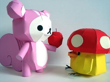 rilakkuma-and-friends-in-forest-costume-papercraft-model