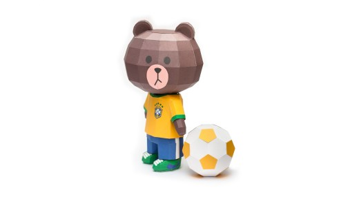LINE Brown Bear in FIFA World Cup 2014 Brazil Jerseys Papercraft Model Finished 006