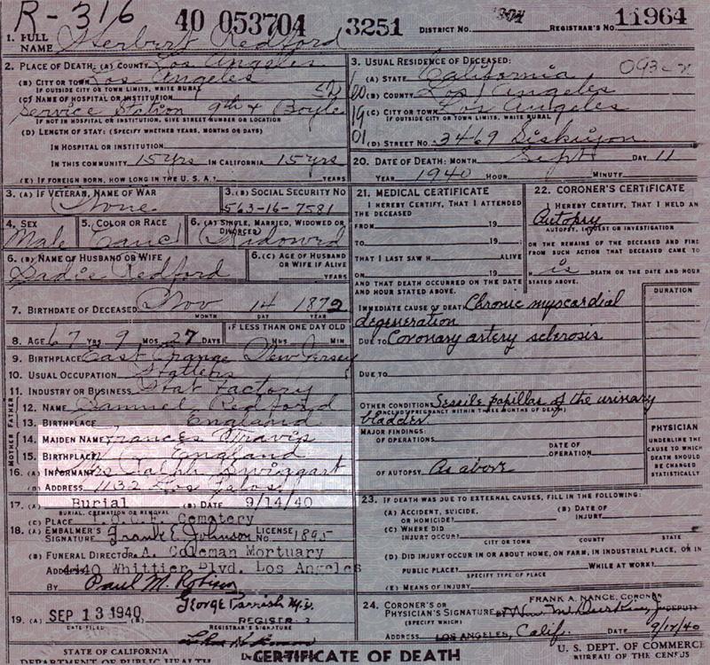 Herbert Redford's death certificate