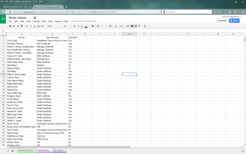 Binder Index in Google Sheets