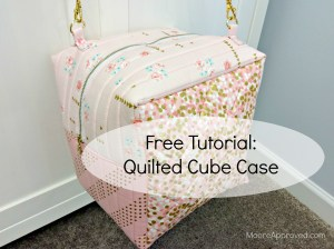 Quilted Cube Case Moore Approved Quilting Brambleberry Ridge Gold Pink Dots Cotton and Steel Basics Finished Bag Hanging tutorial graphic