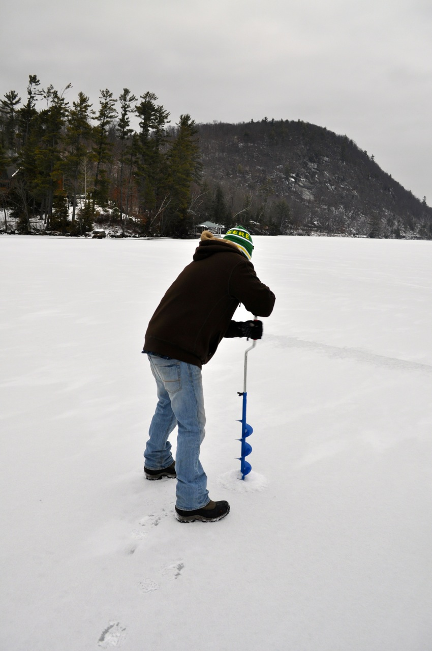 Perch moose knuckle fly fishing for Ice fishing hole