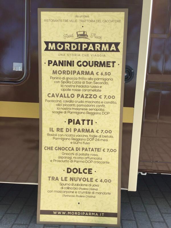 Il menu' delle specialità streetfood di mordiparma