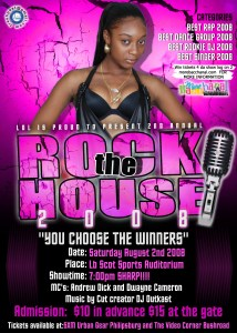 The poster for Rock The House 2008 by Laugh Out Loud Productions