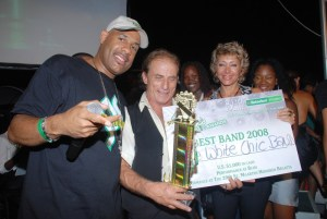 The One White Chic band gets its winning check!