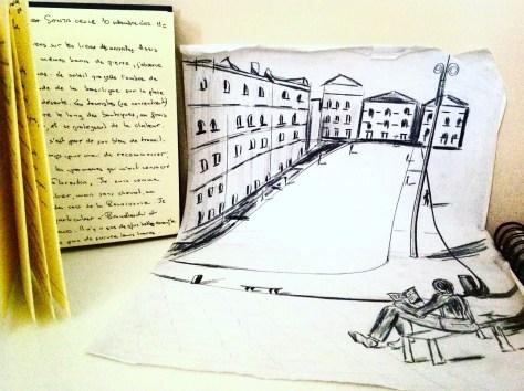 Le Passant Florentin, Place Santa-Croce, illustration Koffi Apenou.
