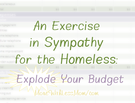An Exercise in Sympathy for the Homeless: Explode Your Budget from The More With Less Mom