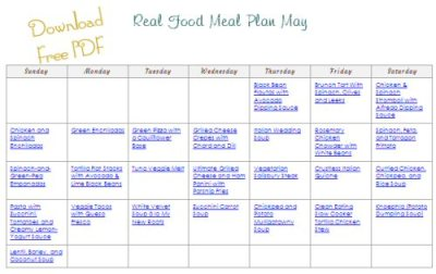 Download Free Printable PDF May Real Food Monthly Meal Plan from The More With Less Mom