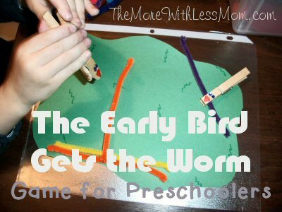 The Early Bird Gets The Worm Game for Preschoolers from The More With Less Mom