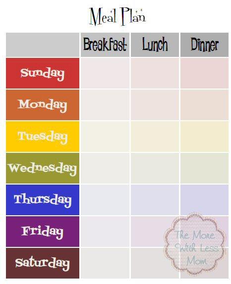 Weekly Calendar Breakfast Lunch Dinner : Rainbow retro mid century free weekly meal plan printable
