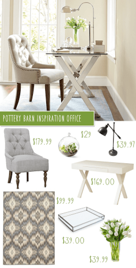 copycat decorating Pottery Barn look, her office decor inspired by Pottery Barn, get a decorator look for less, knock off the look Pottery Barn, decor hacks