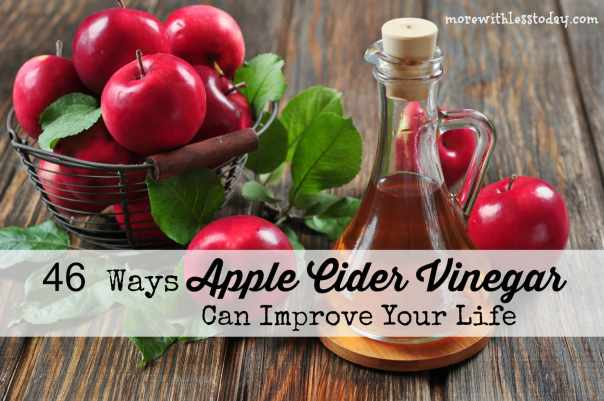 46 Ways Apple Cider Vinegar (ACV) can improve your life - More With Less Today, beauty uses for Apple Cider Vinegar, hacks using ACV, ACV + weigh loss