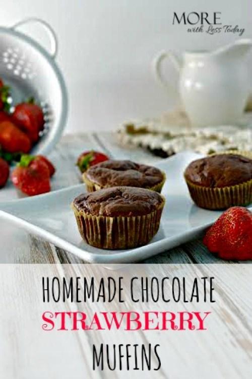 homemade fresh strawberry chocolate muffins, easy recipe using fresh strawberries, muffin recipes, chocolate and fresh strawberries, brunch recipe, dessert