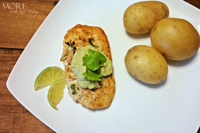 Broiled Alaskan Rockfish with Avocado Lime Sauce