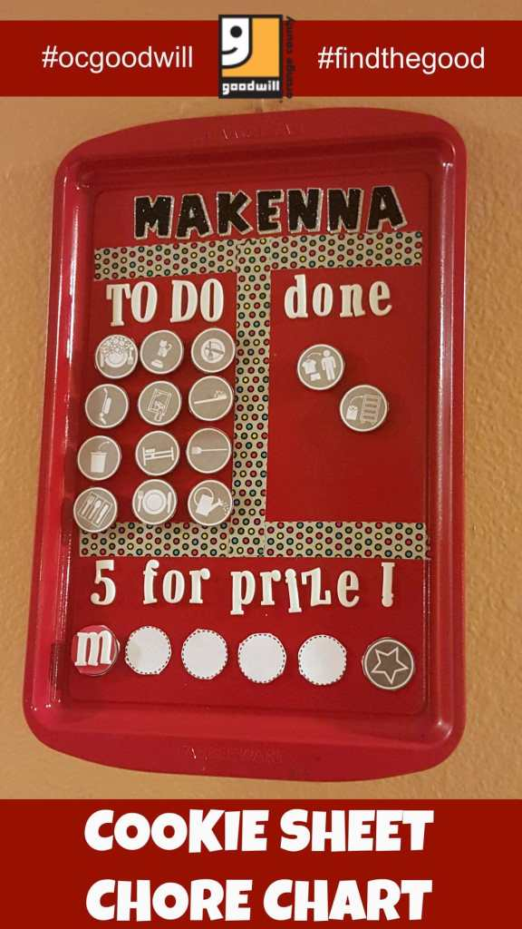 chore chart made from an old cookie sheet, upcycled cookie sheet, DIY Chore Chart, recycle old cookie sheets into craft projects, Goodwill DIY projects
