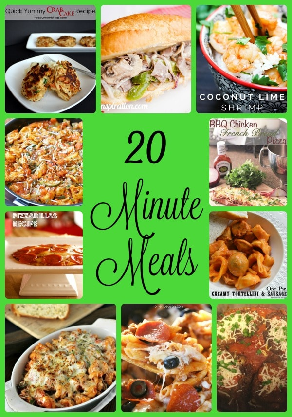 twenty minute meals, quick recipes, easy and fast dinner ideas, recipes that get food on the table fast, easy recipes that don't take a long time to cook