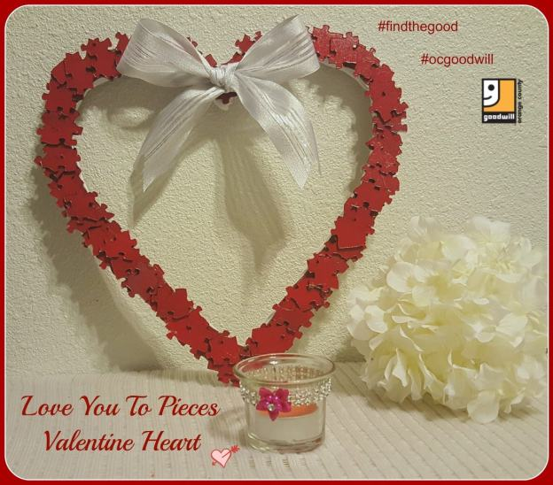 adorable Valentine's Day decor from an old puzzle, puzzle piece wreath, make a Valentine's Day wreath from an old puzzle, Valentine's Day DIY, Goodwill craft