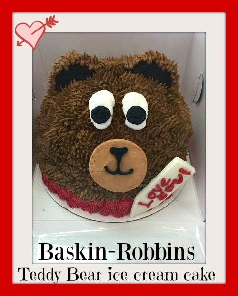 Baskin-Robbins Valentine's Day Teddy Bear Ice Cream Cake, Valentine's Day special cakes, ice cream cakes, sweet treats for Valentine's Day, Baskin-Robbins