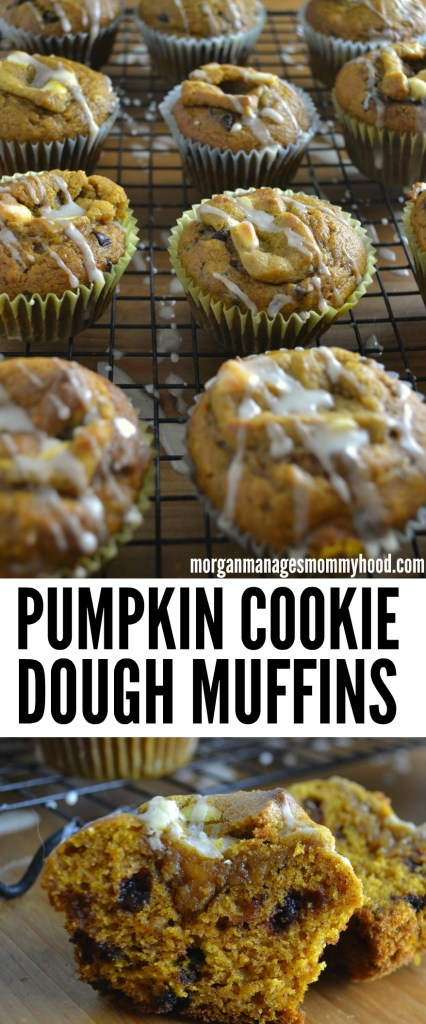 These Pumpkin Cookie Dough muffins are the perfect quick treat to make without having to spend days in the kitchen. Wow your friends and family with these fall themed beauties! #bakeholidaygoodness #cbias#ad