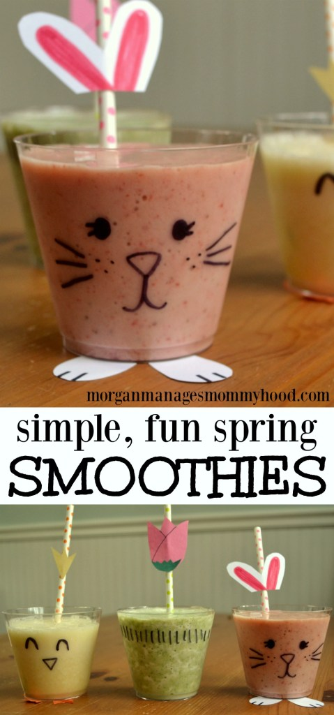Simple, fun spring smoothies are an easy way to add some fun to spring snacks! Simply decorate a disposible, clear cup and ass a fun straw - your kids will have so much fun with the design, they'll never realize they're enjoying a healthy snack!