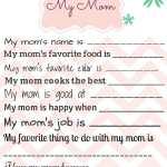 Handmade Gift for Mom – My Mom Printable Page