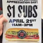 $1 Lunch Deal at Jimmy John's This Thursday
