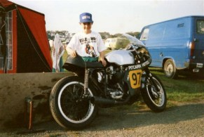 Next to my Dads BSA Gold Star in the Isle of Man at the Manx GP age 11