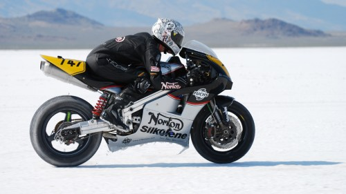 Flat out at the Bonneville Salt Flats on the Factory Rotary Norton