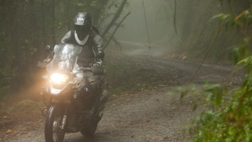 Riding through fog and rain on my way up to the highest point you can drive to in Malaysia