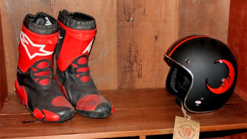 Alpinestars boots and a cool helmet...