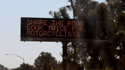 A welcome sign for motorcyclists