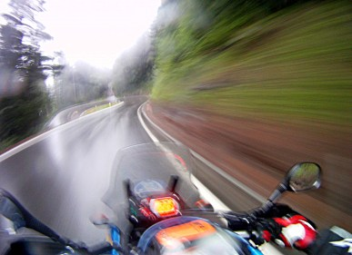 Wet and slippy roads were no trouble