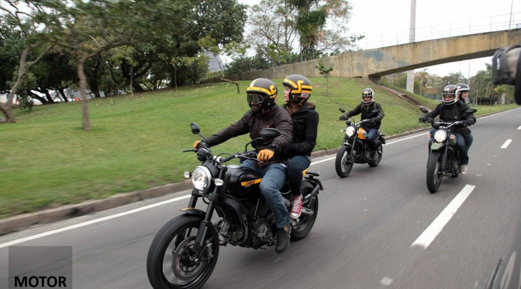 Ducati Scrambler two up full throttle