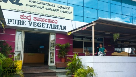 Eating on the way to Hampi from Bangalore