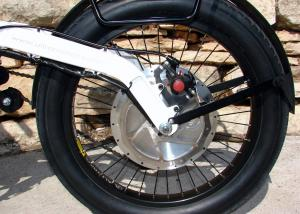 The electric motor is found in the hub of the rear wheel. We wish it was a little easier to lock up.