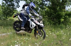Aggro play riding on an 800cc dual-sport bike? Sure. The BMW can handle it, if you can.