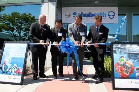 The company's Sept. 15 dedication ceremony included a ribbon cutting by (left to right) Schuberth World Wide CEO Marcel Lejeune, Aliso Viejo Mayor Phillip Tsunoda, Board President of the Aliso Viejo Community Association, Ross Chun, and Schubert North America General Manager Randy Northrup.