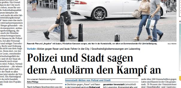 In Mannheim geht es laut her: Krawallposer belästigen die Bürgerschaft. Ausriss Mannheimer Morgen.