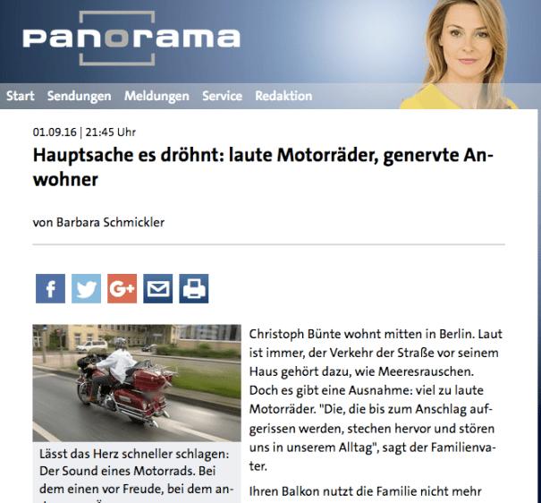 Panorama berichtet heute, 1. September, zum Thema Motorradlärm.