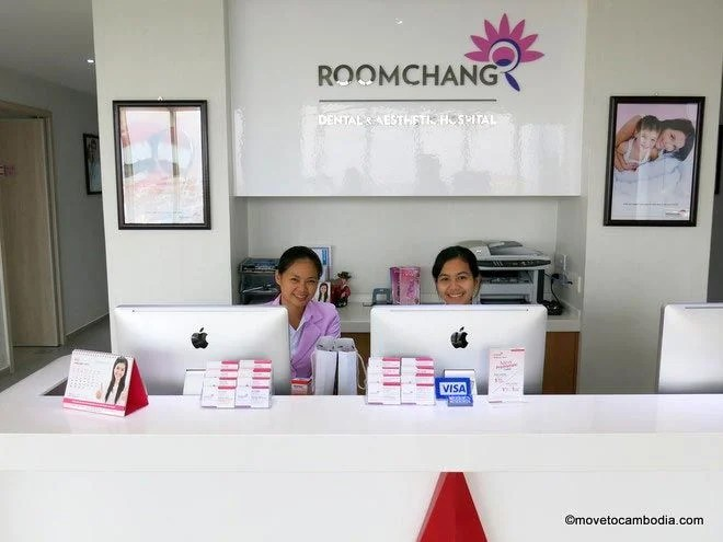 Friendly receptionists at Roomchang in Phnom Penh