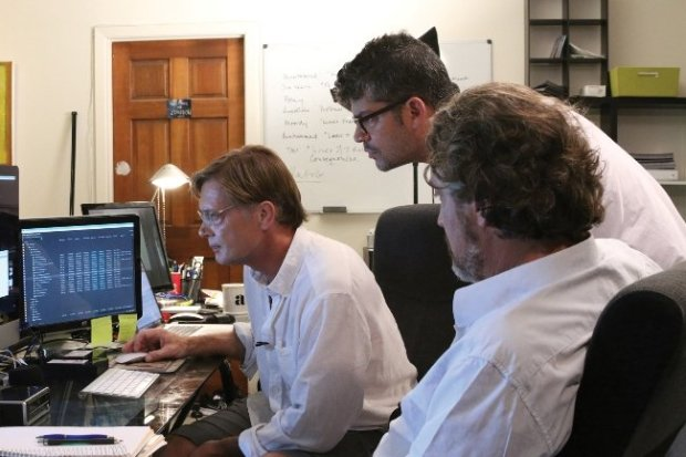 Director Andrew Wakefield (left), Editor Brian Burrows (middle), and Producer Del Bigtree (Right) review the data from the CDC Autism/MMR study. Photograph by Andrew Debosz