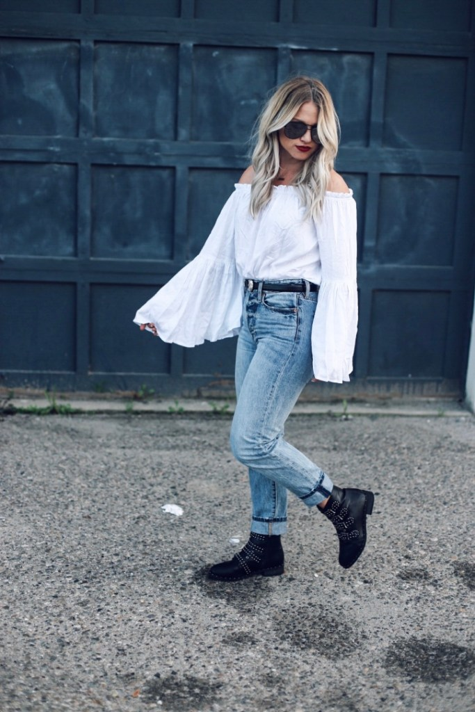 white off shoulder top outfit