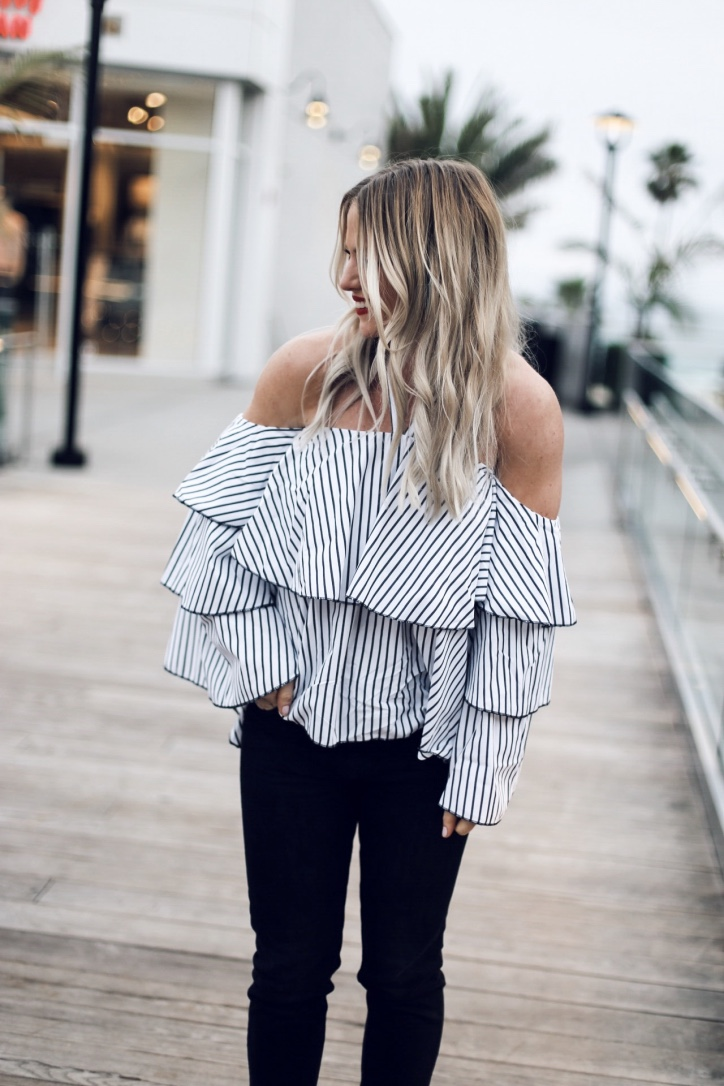 striped ruffle top styled by Christine Bennett of moxiefashionblog.com
