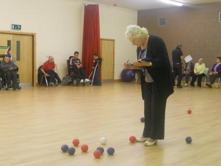 A game of boccia in the Over 55 club!