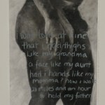 Light & Air Charcoal drawing of male thighs with poem, by Manuel Palacio