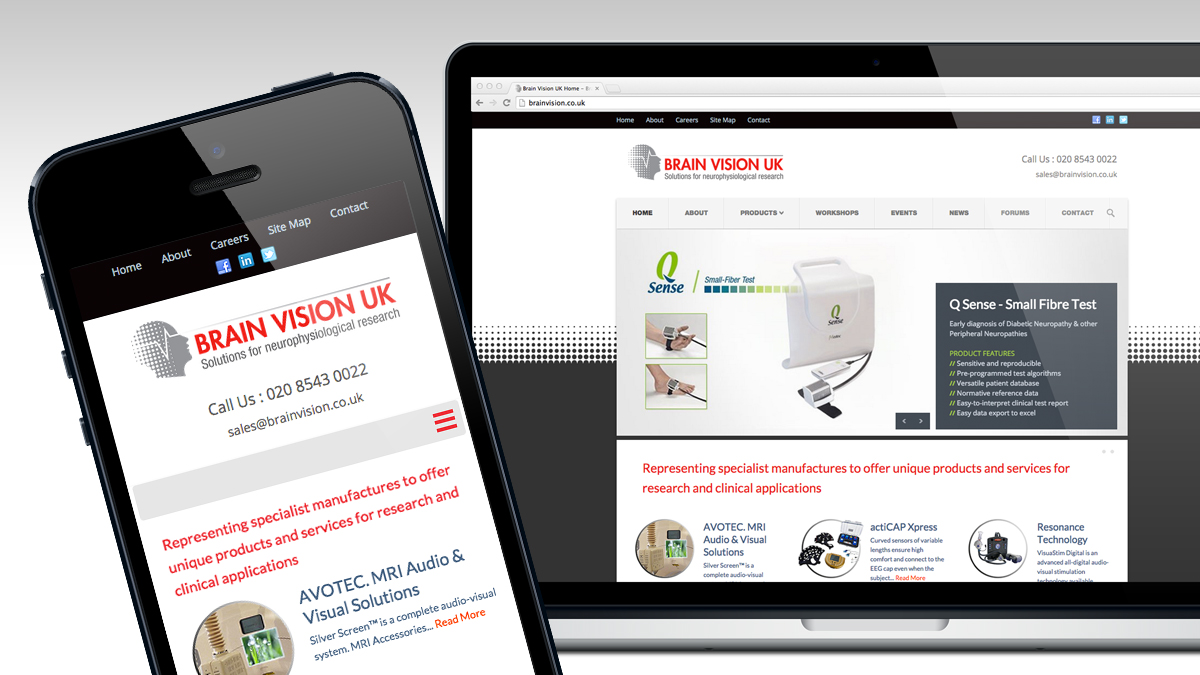 Brain Vision website and mobile friendly design