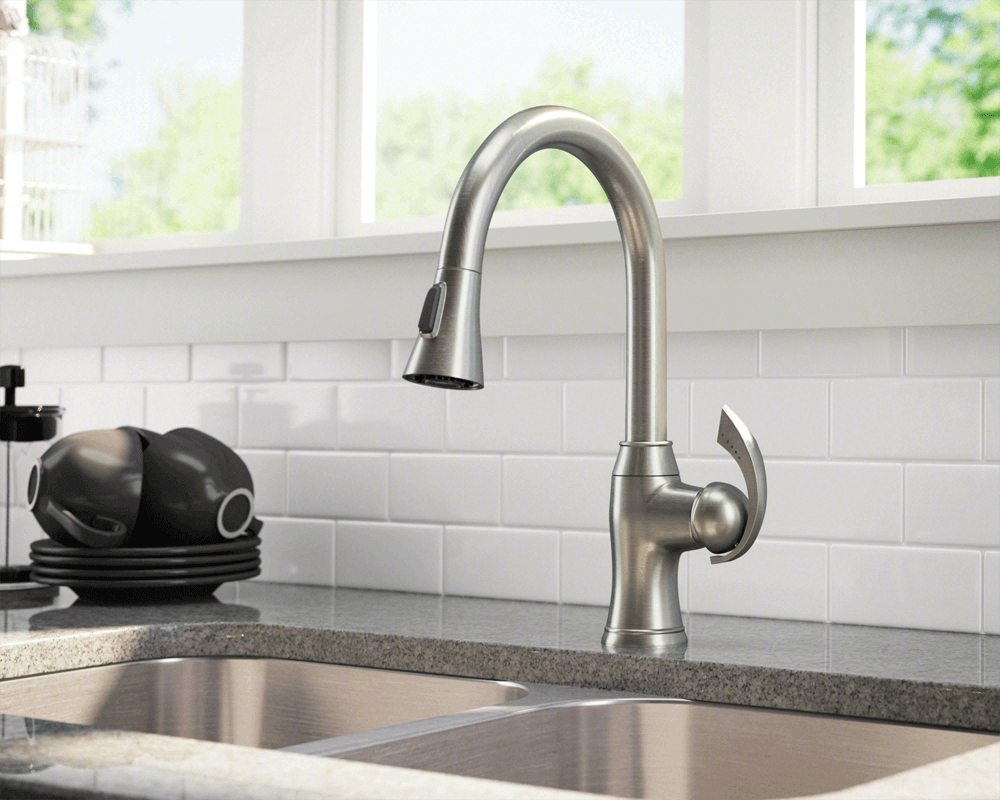 bn brushed nickel pull down kitchen faucet kitchen faucet