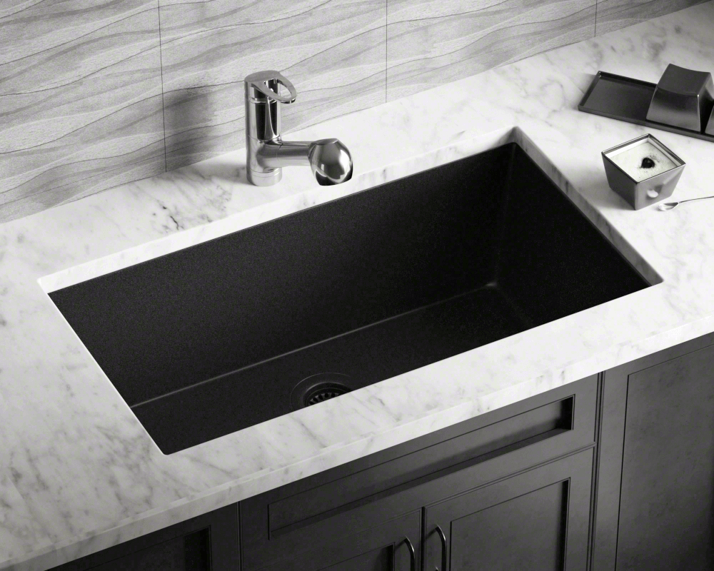 black large single bowl undermount trugranite kitchen sink single bowl kitchen sink Black Single Bowl Undermount TruGranite Sink