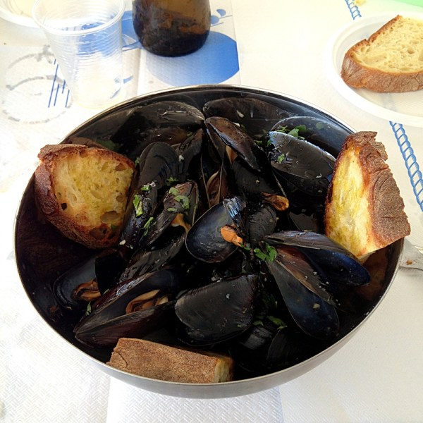 Pepata di cozze, steamed mussels, on Ms. Adventures in Italy by Sara Rosso